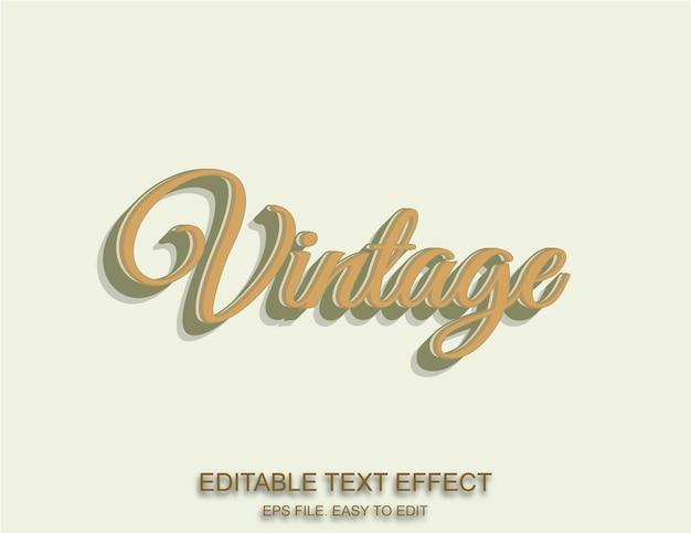 Vintage cremefarbener schriftart-effekt-retro-stil