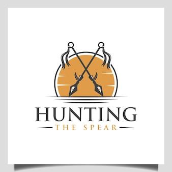 Vintage crossed indianischen speer-logo-symbol-vektor mit sonnenuntergang für krieger oder jagd im freien logo-design