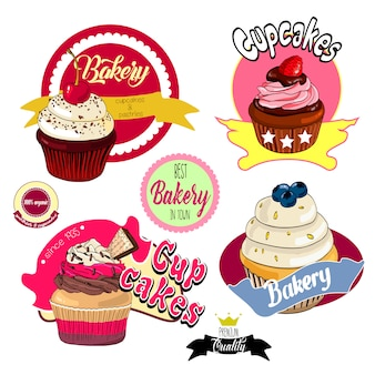 Vintage cupcakes bäckerei abzeichen und etiketten