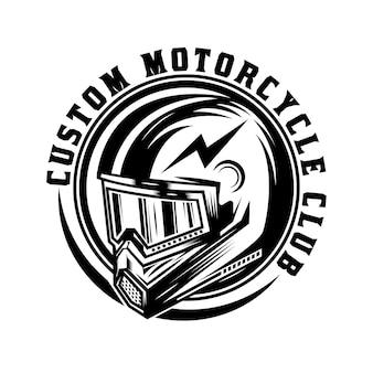 Vintage custom motorrad helm abzeichen design