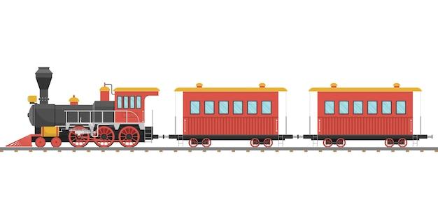 Vintage dampflokomotive und wagen auf eisenbahn