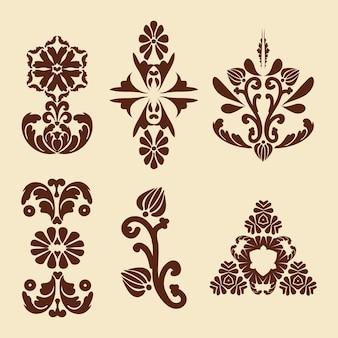Vintage dekorationen für blumenmalerei mehndi muster damastmuster braun beige farbe