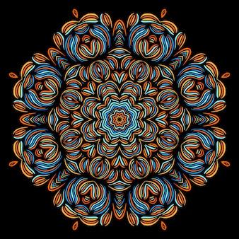 Vintage dekorative elemente mit orientalischem muster. yoga-vorlage.