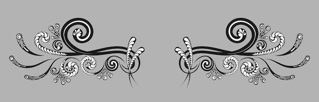 Vintage dekorative monogramme und kalligraphische grenzen. vorlagenbeschilderung, logos, etiketten, aufkleber, karten. seite für grafikdesign. klassische gestaltungselemente für hochzeitseinladungen.