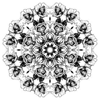 Vintage dekorative spitze rundes muster. blumenornament im barockstil. handgezeichnete illustration mit rose