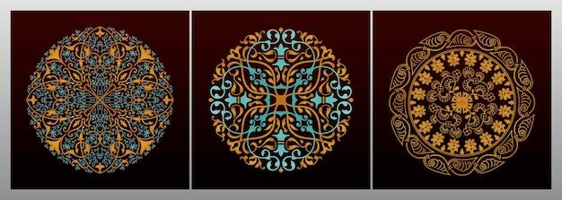 Vintage dekoratives goldenes mandala-design Premium Vektoren