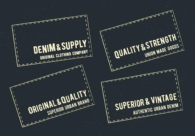 Vintage denim-etiketten gesetzt