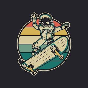 Vintage-design-astronaut, der skateboard retro-vintage-illustration reitet