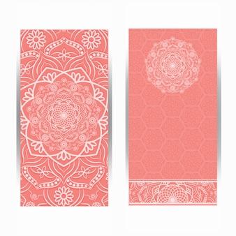 Vintage design der einladungskarte mit mandalamuster.