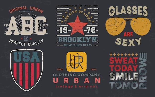 Vintage-design-druck für t-shirt-stempel, t-shirt-applikation, modetypografie, abzeichen, label-kleidung, jeans und freizeitkleidung. vektor-illustration.