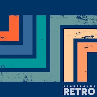 Vintage-design-hintergrund mit retro-grunge-textur und farbigen linien. vektor-illustration.