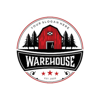 Vintage design premium vorlage des abstrack warehouse scheunenlogos