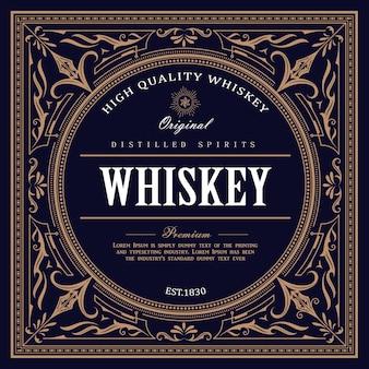 Vintage-design whisky label retro-illustration