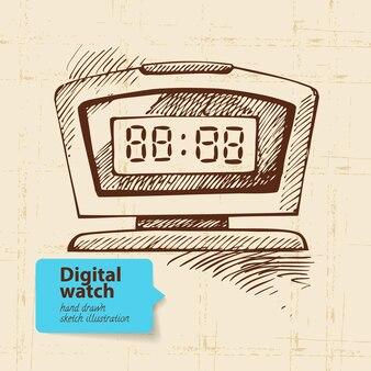 Vintage digitaluhr. handgezeichnete abbildung