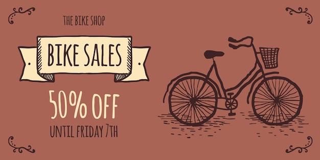 Vintage doodle bike sport social media post