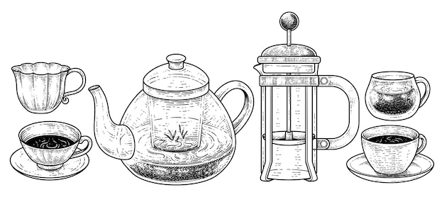 Vintage drinks and beverages collection handgezeichnete skizze elemente vektor illustration