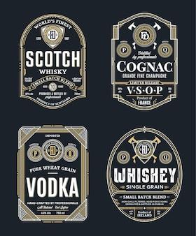 Vintage dünne linie etiketten der alkoholischen getränke