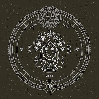 Vintage dünne linie jungfrau sternzeichen etikett. astrologisches symbol des retro-vektors, mystisches, heiliges geometrieelement, emblem, logo. strichkonturillustration.