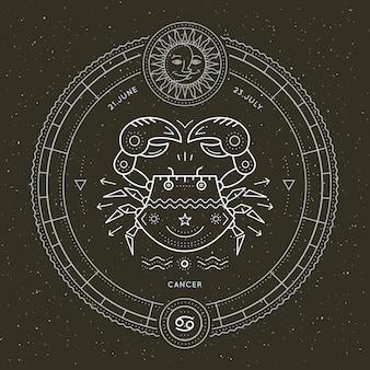 Vintage dünne linie krebs sternzeichen etikett. astrologisches symbol des retro-vektors, mystisches, heiliges geometrieelement, emblem, logo. strichkonturillustration.