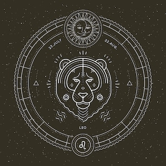 Vintage dünne linie leo sternzeichen etikett. astrologisches symbol des retro-vektors, mystisches, heiliges geometrieelement, emblem, logo. strichkonturillustration.