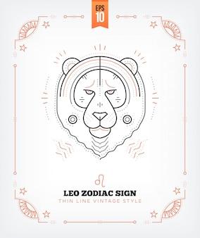 Vintage dünne linie leo sternzeichen etikett. retro astrologisches symbol, mystisches, heiliges geometrieelement, emblem, logo. strichkonturillustration. auf weiß isoliert