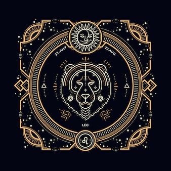 Vintage dünne linie leo sternzeichen etikett. retro astrologisches symbol, mystisches, heiliges geometrieelement, emblem, logo. strichkonturillustration.