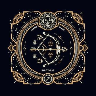 Vintage dünne linie schütze sternzeichen etikett. retro astrologisches symbol, mystisches, heiliges geometrieelement, emblem, logo. strichkonturillustration.