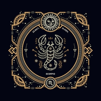 Vintage dünne linie skorpion sternzeichen etikett. retro astrologisches symbol, mystisches, heiliges geometrieelement, emblem, logo. strichkonturillustration.