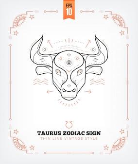 Vintage dünne linie stier sternzeichen etikett. retro astrologisches symbol, mystisches, heiliges geometrieelement, emblem, logo. strichkonturillustration. auf weiß isoliert