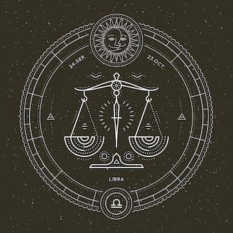 Vintage dünne linie waage sternzeichen etikett. astrologisches symbol des retro-vektors, mystisches, heiliges geometrieelement, emblem, logo. strichkonturillustration.