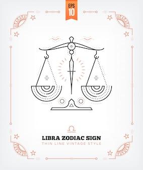 Vintage dünne linie waage sternzeichen etikett. retro astrologisches symbol, mystisches, heiliges geometrieelement, emblem, logo. strichkonturillustration. auf weiß isoliert
