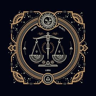 Vintage dünne linie waage sternzeichen etikett. retro astrologisches symbol, mystisches, heiliges geometrieelement, emblem, logo. strichkonturillustration.