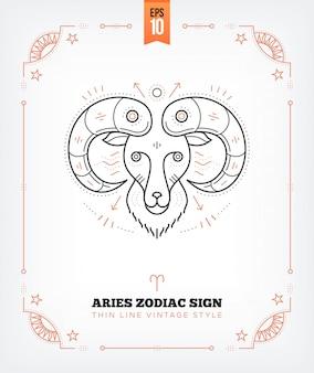Vintage dünne linie widder sternzeichen etikett. retro astrologisches symbol, mystisches, heiliges geometrieelement, emblem, logo. strichkonturillustration. auf weiß isoliert