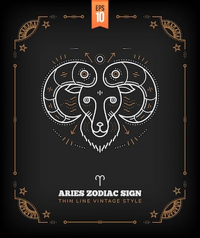 Vintage dünne linie widder sternzeichen etikett. retro astrologisches symbol, mystisches, heiliges geometrieelement, emblem, logo. strichkonturillustration.