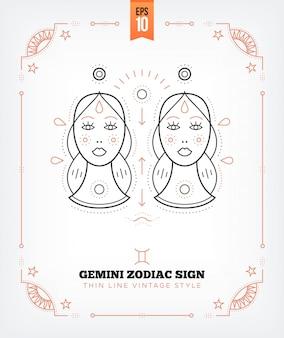Vintage dünne linie zwillinge sternzeichen etikett. retro astrologisches symbol, mystisches, heiliges geometrieelement, emblem, logo. strichkonturillustration. auf weißem hintergrund isoliert.
