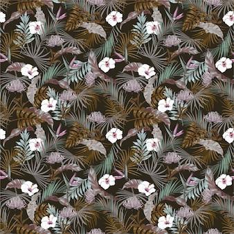 Vintage dunkle tropische dschungel mit exotischer blume, nahtloses hibiskusblumenmuster