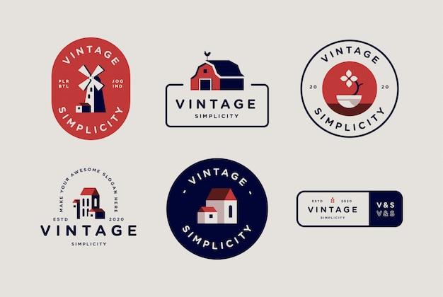 Vintage einfache flache abzeichen logo sammlung set