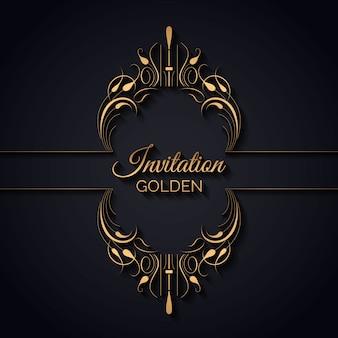 Vintage einladung mit goldenem rahmen
