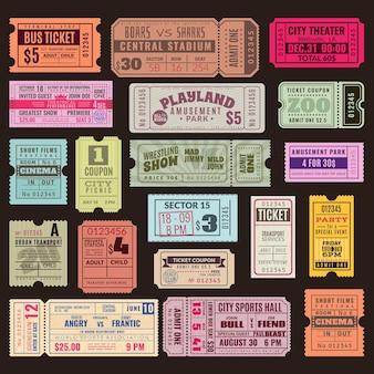 Vintage einladung tickets mit stempel