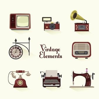 Vintage-elemente sammlung