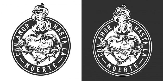 Vintage emblem des mexikanischen tages der toten