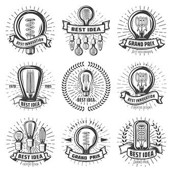 Vintage energieeffiziente glühbirnenetiketten mit inschriften verschiedener glühbirnen