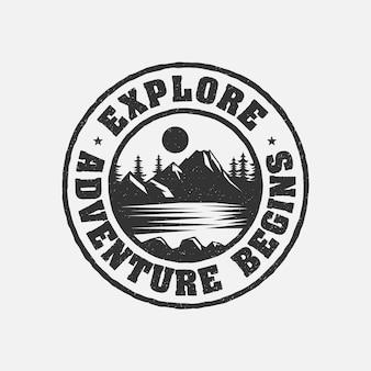 Vintage erkunden abenteuer beginnt abzeichen logo