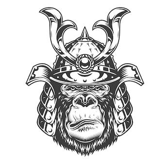 Vintage ernster gorilla-krieger