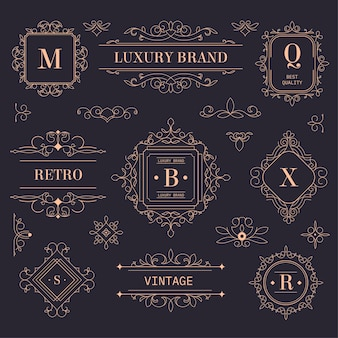 Vintage-etiketten oder embleme, goldene logos mit vintage-ornamenten und blühendem design