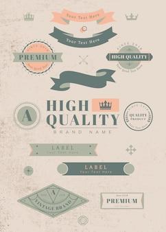 Vintage etiketten und abzeichen