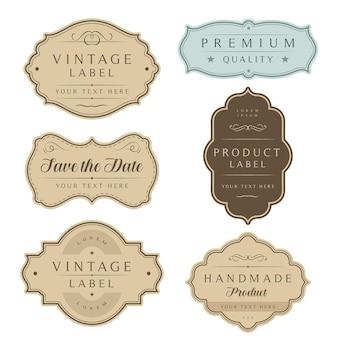 Vintage etiketten und tags rahmen set