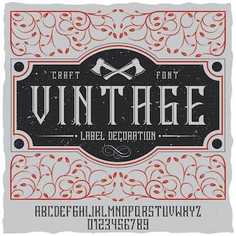 Vintage etikettendekorationsplakat mit maßwerk auf feld und weinleseschrift