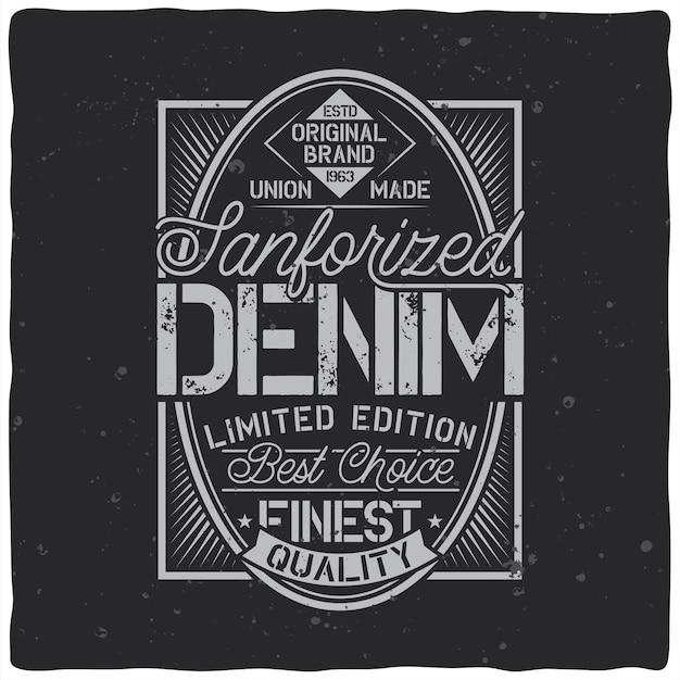 Vintage etikettendesign mit schriftzugzusammensetzung auf dunkel