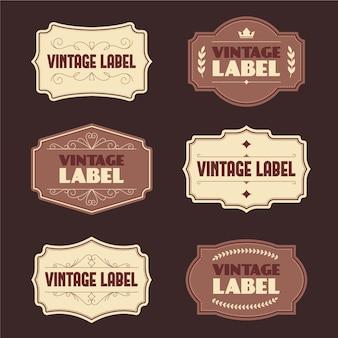 Vintage-etikettensatzvorlage im papierstil